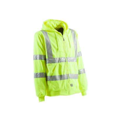 Men's Yellow 100% Polyester Hi-Vis Type R Class 3 Lined Hooded Sweatshirt