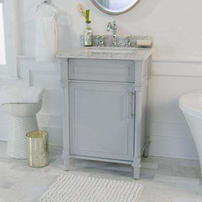 Aberdeen 24 in. W x 20 in. D Bath Vanity in Dove Grey with Carrara Marble Top with White Sink