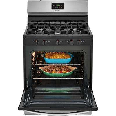 30 in. 4.2 cu. ft. Gas Range with 5 Burner Cooktop in Stainless Steel