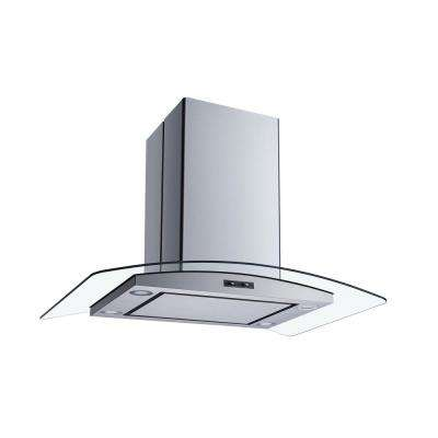 36 in. Convertible Island Mount Range Hood in Stainless Steel and Glass with Mesh Filters and Stainless Steel Panel