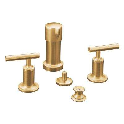 Purist 2-Handle Bidet Faucet in Vibrant Moderne Brushed Gold with Vertical Spray with Lever Handles