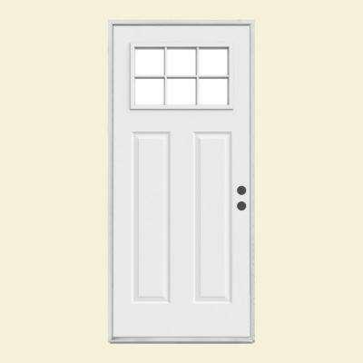 Craftsman 6 Lite Primed Steel Prehung Front Door