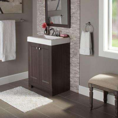 Shaila 24.5 in. W Bath Vanity in Silverleaf with Cultured Marble Vanity Top in White with White Sink
