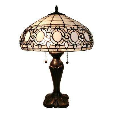 24 in. Tiffany Style White Table Lamp