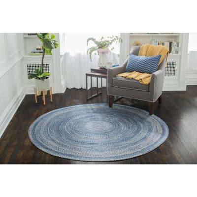 Epona Braided 6 ft. Round Blue Area Rug