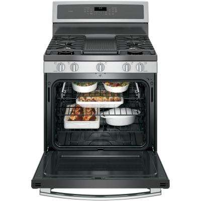 Profile 30 in. 5.6 cu. ft. Smart Dual Fuel Range with Self-Cleaning Convection Oven in Stainless Steel