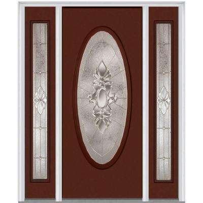 60 in. x 80 in. Heirloom Master Left-Hand Large Oval Classic Painted Fiberglass Smooth Prehung Front Door w/ Sidelites