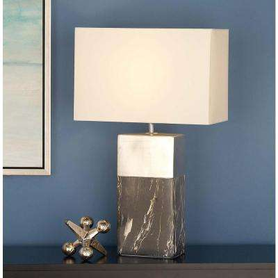 24 in. Decorative Rectangular Silver and Gray Ceramic Table Lamp