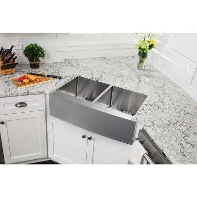 Farmhouse Apron Front 33 in. 16-Gauge Stainless Steel Double Bowl Kitchen Sink in Brushed Stainless