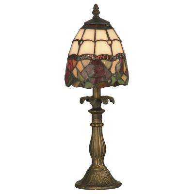 Enid 16 in. Antique Brass Accent Table Lamp with Tiffany Glass Shade