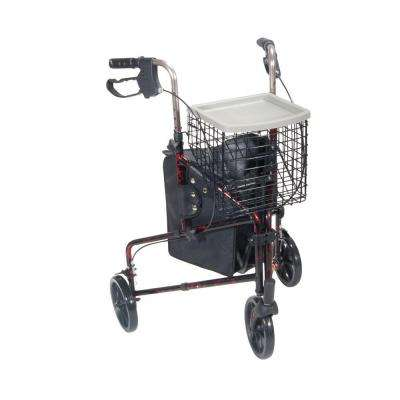 3-Wheel Rollator Walker with Basket Tray and Pouch in Flame Red