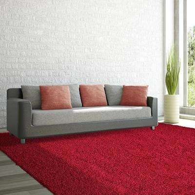 Comfort Shag Red 8 ft. x 10 ft. Area Rug