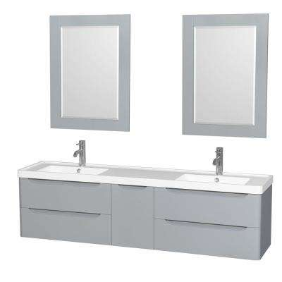 Murano 72 in. W x 16.5 in. D Vanity in Gray with Acrylic Resin Vanity Top in White with White Basins and 24 in. Mirrors