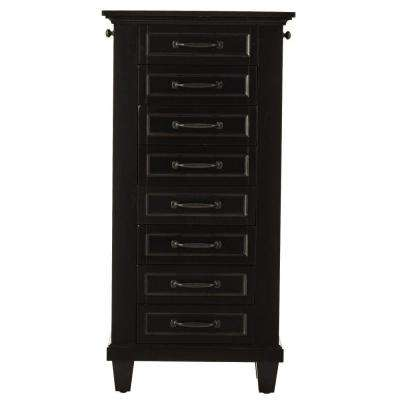 Martin 7-Drawer Jewelry Armoire in Black