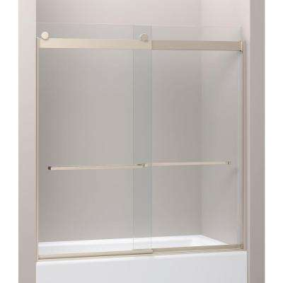 Levity 28-1/8 in. x 62 in. Heavy Frameless Front Sliding Shower Door with Glass Panel in Brushed Nickel