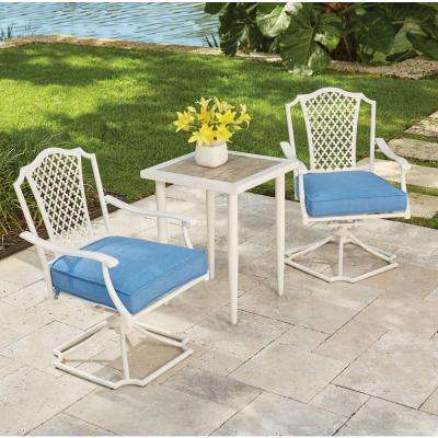 Alveranda 3-Piece Metal Outdoor Bistro Set with Periwinkle Cushions