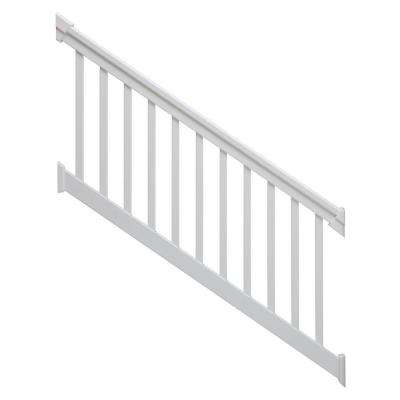 6 ft. x 42 in. 36-Degree to 41-Degree PVC White Stair Rail Kit with Square Balusters