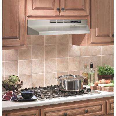 nonvented range hood in stainless steel