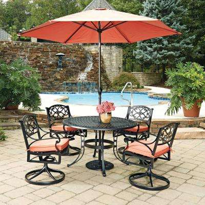 Biscayne Black 7-Piece Cast Aluminum Outdoor Dining Set with Coral Cushions