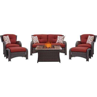 Strathmere 6-Piece Woven Patio Seating Set with Wood Grain-Top Fire Pit with Crimson Red Cushions