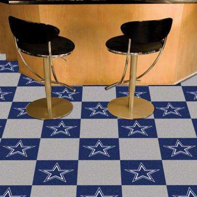 NFL - Dallas Cowboys Navy Blue and Grey Nylon 18 in. x 18 in. Carpet Tile (20 Tiles/Case)