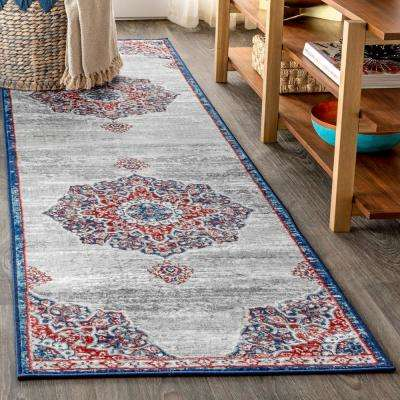 Modern Persian Vintage Moroccan Medallion Navy/Light Pink 2 ft. x 8 ft. Runner Rug