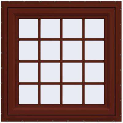 35.5 in. x 35.5 in. V-4500 Series Left-Hand Casement Vinyl Window with Grids - Red