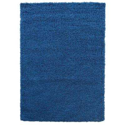 Cozy Shag Collection Navy Blue 6 ft. 7 in. x 9 ft. 3 in. Indoor Area Rug