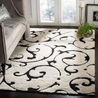 Florida Shag Ivory/Black 8 ft. 6 in. x 12 ft. Area Rug