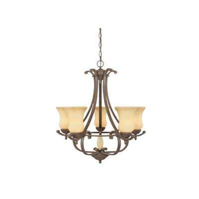 Molalla 5-Light Ancient Oak Hanging Chandelier