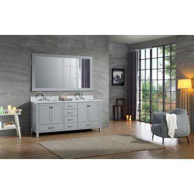 Cambridge 73 in. Bath Vanity in Grey with Marble Vanity Top in Grey with White Basins