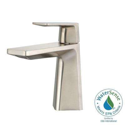 Aplos Single Hole Single-Handle Mid-Arc Bathroom Faucet in Brushed Nickel