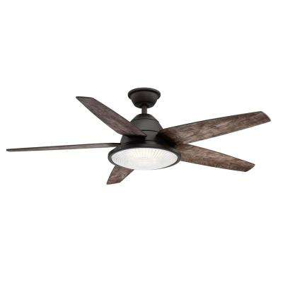 Berwick 52 in. LED Outdoor Espresso Bronze Ceiling Fan with Light and Remote Control works with Google and Alexa