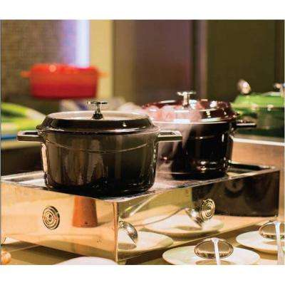 Signature 7 Qt. Enameled Cast Iron Round Dutch Oven in Obsidian Black