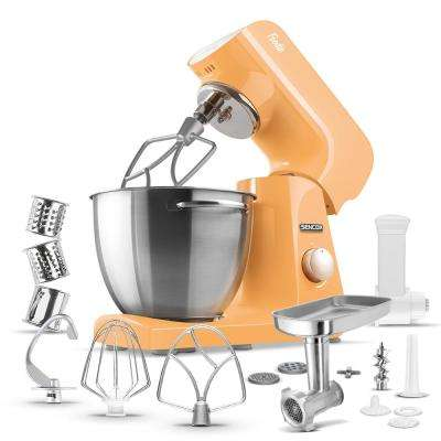Robust Full-Metal Body with Metal Gears Stand Mixer in Pastel Orange