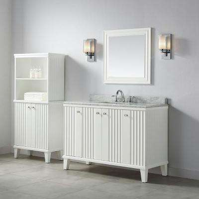 Parker 48 in. W x 22 in. D Vanity in White with Marble Vanity Top in White with White Basin