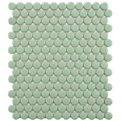 Metro Penny Matte Light Green 9-3/4 in. x 11-1/2 in. x 6 mm Porcelain Mosaic Tile (8 sq. ft. / case)