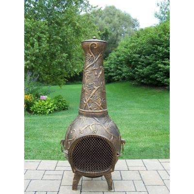 Leaf Cast Metal 53 in. Tall Chimenea with Built-in Handles, Log Grate, Spark Guard Screen on Stack and Door