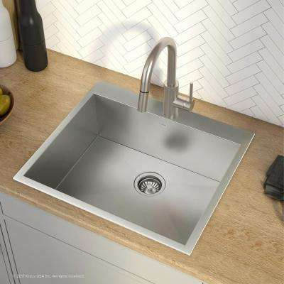 Pax All-in-One Drop-In Stainless Steel 25 in. 1-Hole Single Bowl Kitchen Sink with Oletto Faucet in Chrome