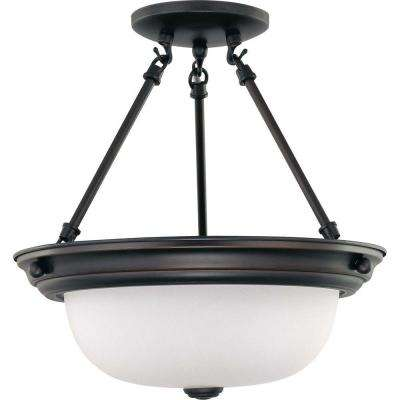 2-Light Mahogany Bronze Semi-Flush Mount Light with Frosted White Glass