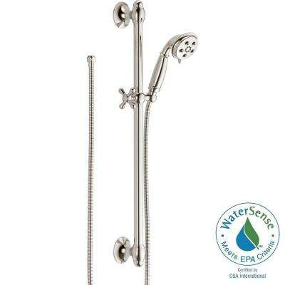 3-Spray 2.0 GPM Hand Shower with Slide Bar in Polished Nickel Featuring H2Okinetic