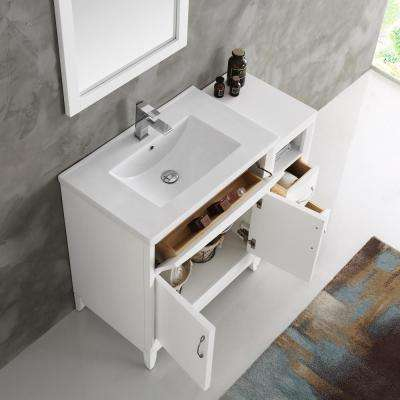 Cambridge 42 in. Vanity in White with Porcelain Vanity Top in White with White Ceramic Basin and Mirror