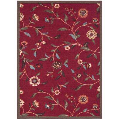 Floral Garden Design Dark Red 3 ft. 3 in. x 5 ft. Non-Skid Area Rug