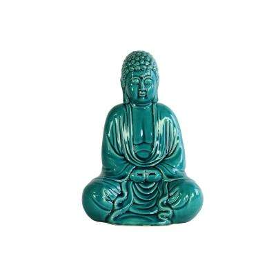 12.75 in. H Buddha Decorative Figurine in Turquoise Gloss Finish