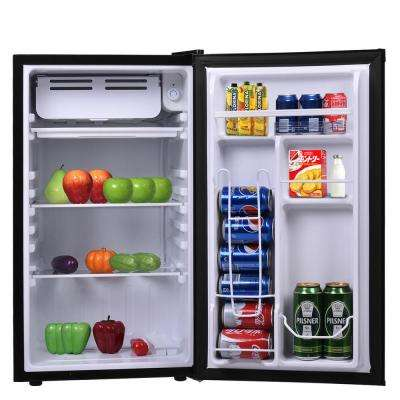 3.2 cu. ft. Compact Refrigerator Mini Dorm Small Fridge Freezer Reversible Door in Black