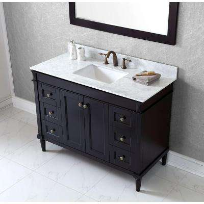 Tiffany 49 in. W Bath Vanity in Espresso with Marble Vanity Top in White with Square Basin and Mirror