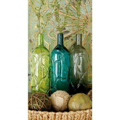 16 in. Polished Assorted Colors and Geometric Embossed Embellishments Glass Decorative Vases (Set of 3)