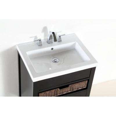 Loleta 24 in. W x 19 in. D x 35 in. H Single Vanity in Espresso with Ceramic Vanity Top in White with White Basin
