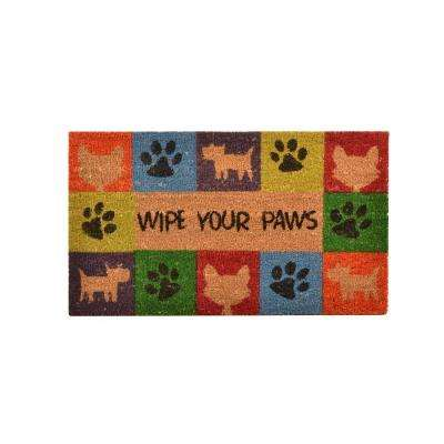 Outdoor Wipe Your Paws 1 ft. 6 in. x 2 ft. 6 in. Coir and Vinyl Door Mat