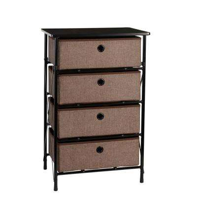 19 in. x 29.5 in. Sort and Store 4-Bin Organizer in Brown